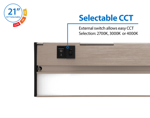 NICOR NUC521SNK NUC-5 Series 21.5-inch Nickel Selectable LED Under Cabinet Light