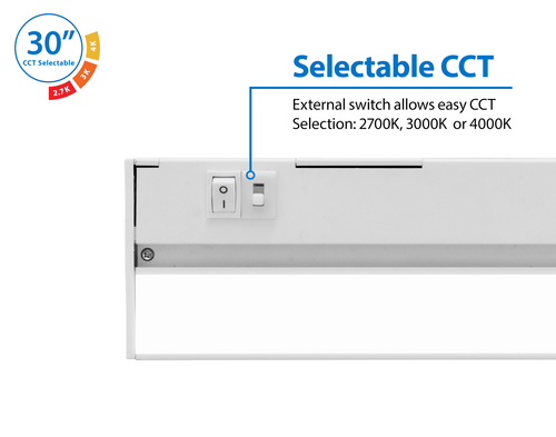NICOR NUC530SWH NUC-5 Series 30-inch White Selectable LED Under Cabinet Light