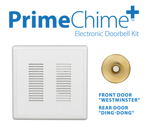 NICOR PRCP1SBPB PrimeChime Plus - Video Compatible Doorbell Chime Kit with Polished Brass Stucco Button