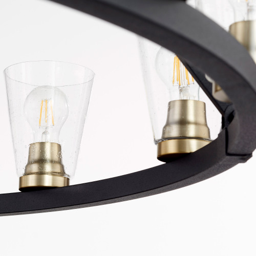 QUORUM 63-12-6980 Paxton 12-Light Chandelier,Noir w/ Aged Brass