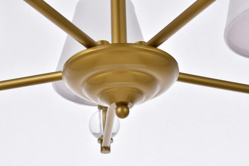 Living Disrict LD7024D25BR Bethany 5 lights pendant in brass with white fabric shade