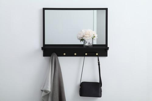 Elegant Decor MR502821BK Entryway mirror with shelf  28 inch x 21 inch in black