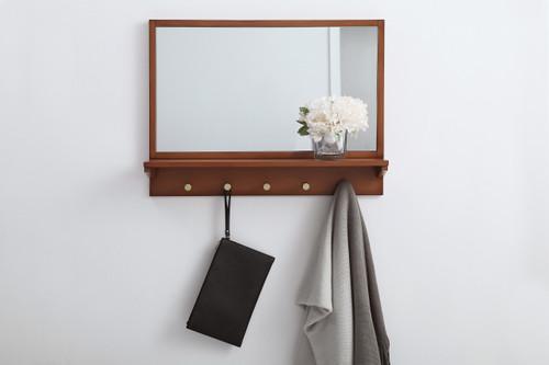 Elegant Decor MR502821PE Entryway mirror with shelf  28 inch x 21 inch in pecan