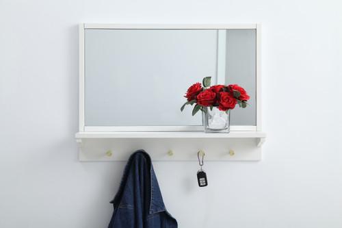 Elegant Decor MR502821WH Entryway mirror with shelf  28 inch x 21 inch in white