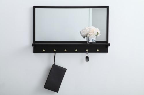 Elegant Decor MR503421BK Entryway mirror with shelf  34 inch x 21 inch in black