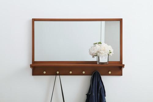 Elegant Decor MR503421PE Entryway mirror with shelf  34 inch x 21 inch in pecan