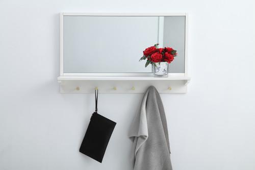 Elegant Decor MR503421WH Entryway mirror with shelf  34 inch x 21 inch in white