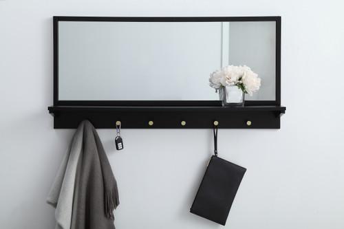 Elegant Decor MR504221BK Entryway mirror with shelf  42 inch x 21 inch in black