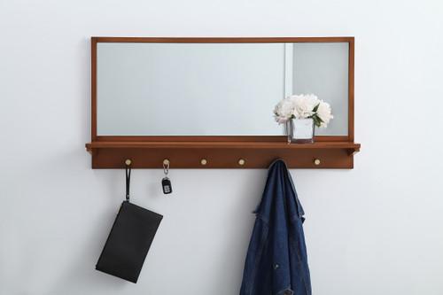 Elegant Decor MR504221PE Entryway mirror with shelf  42 inch x 21 inch in pecan