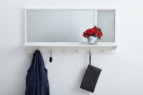 Elegant Decor MR504221WH Entryway mirror with shelf  42 inch x 21 inch in white