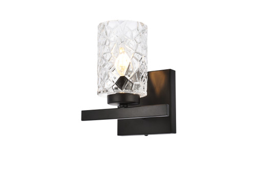 Living Disrict LD7025W7BK Cassie 1 light bath sconce in black with clear shade