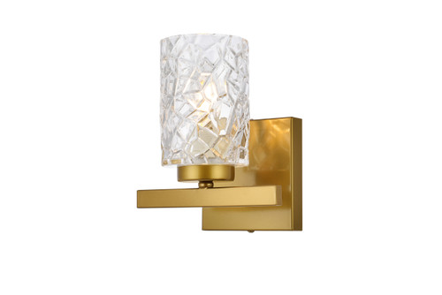 Living Disrict LD7025W7BR Cassie 1 light bath sconce in brass with clear shade