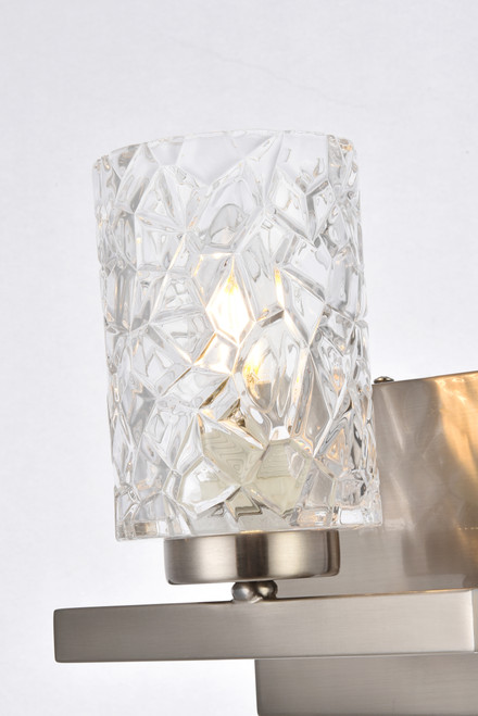 Living Disrict LD7025W7SN Cassie 1 light bath sconce in stain nickel with clear shade