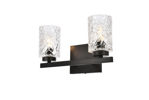 Living Disrict LD7026W14BK Cassie 2 lights bath sconce in black with clear shade