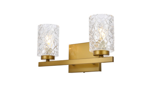 Living Disrict LD7026W14BR Cassie 2 lights bath sconce in brass with clear shade
