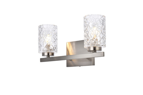 Living Disrict LD7026W14SN Cassie 2 lights bath sconce in stain nickel with clear shade