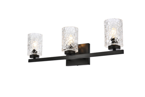 Living Disrict LD7027W24BK Cassie 3 lights bath sconce in black with clear shade
