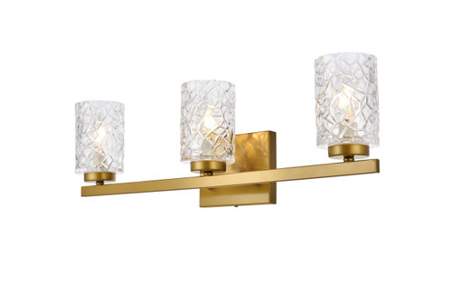 Living Disrict LD7027W24BR Cassie 3 lights bath sconce in brass with clear shade