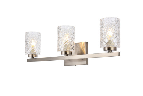 Living Disrict LD7027W24SN Cassie 3 lights bath sconce in stain nickel with clear shade