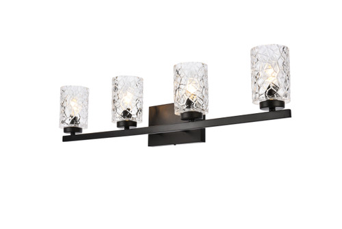 Living Disrict LD7028W32BK Cassie 4 lights bath sconce in black with clear shade