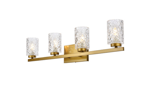 Living Disrict LD7028W32BR Cassie 4 lights bath sconce in brass with clear shade