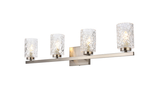 Living Disrict LD7028W32SN Cassie 4 lights bath sconce in stain nickel with clear shade