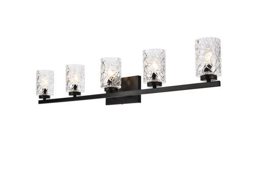 Living Disrict LD7029W41BK Cassie 5 lights bath sconce in black with clear shade