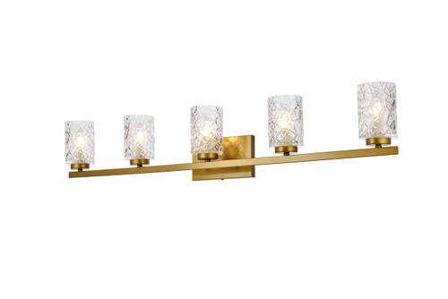 Living Disrict LD7029W41BR Cassie 5 lights bath sconce in brass with clear shade