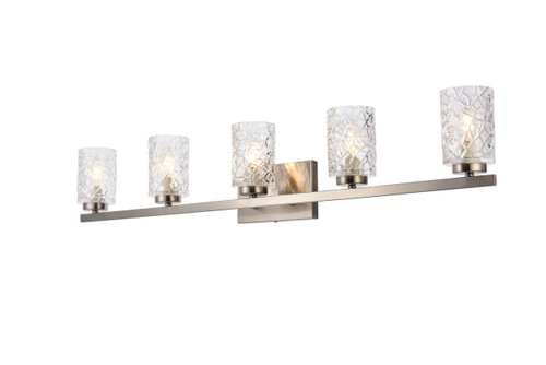 Living Disrict LD7029W41SN Cassie 5 lights bath sconce in stain nickel with clear shade