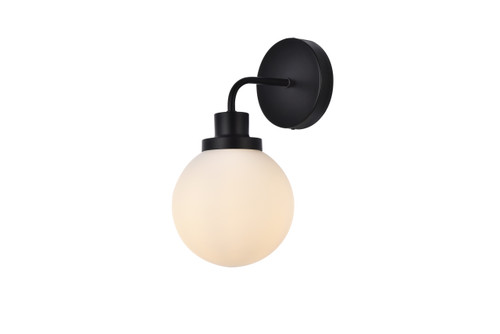 Living Disrict LD7030W8BK Hanson 1 light bath sconce in black with frosted shade