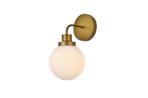 Living Disrict LD7030W8BR Hanson 1 light bath sconce in brass with frosted shade