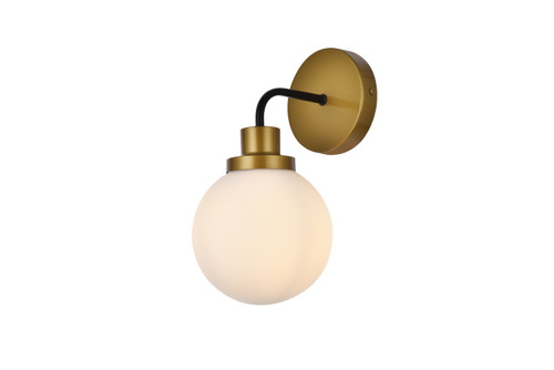 Living Disrict LD7030W8BRB Hanson 1 light bath sconce in black with brass with frosted shade