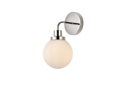 Living Disrict LD7030W8PN Hanson 1 light bath sconce in polish nickel with frosted shade
