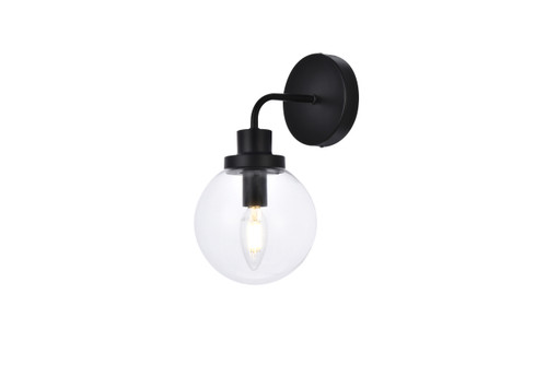 Living Disrict LD7031W8BK Hanson 1 light bath sconce in black with clear shade