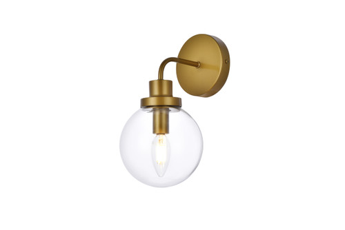 Living Disrict LD7031W8BR Hanson 1 light bath sconce in brass with clear shade