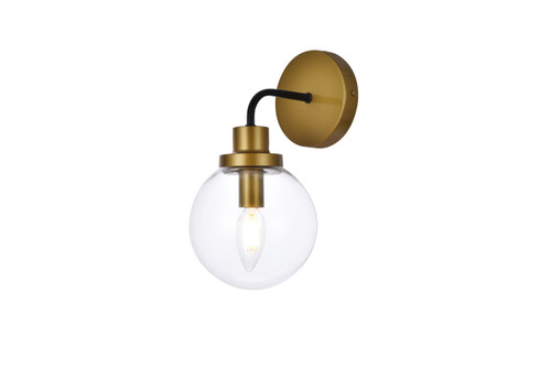 Living Disrict LD7031W8BRB Hanson 1 light bath sconce in black with brass with clear shade