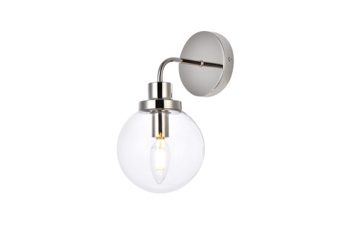 Living Disrict LD7031W8PN Hanson 1 light bath sconce in polish nickel with clear shade