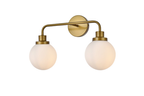 Living Disrict LD7032W19BR Hanson 2 lights bath sconce in brass with frosted shade