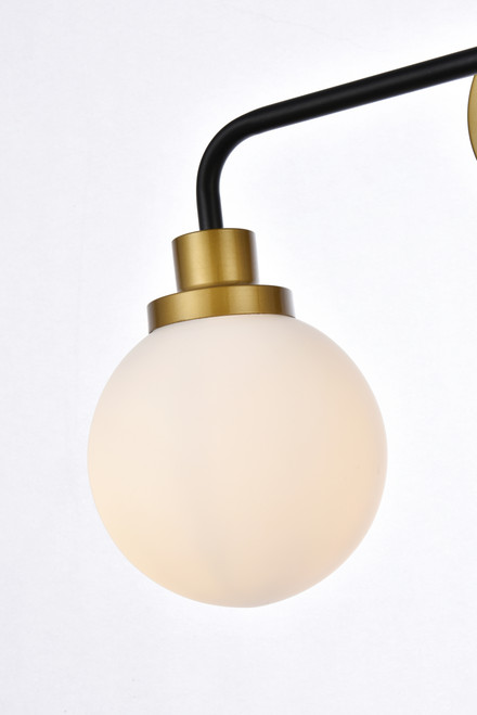 Living Disrict LD7032W19BRB Hanson 2 lights bath sconce in black with brass with frosted shade