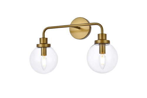 Living Disrict LD7033W19BR Hanson 2 lights bath sconce in brass with clear shade
