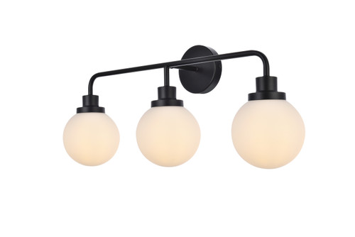 Living Disrict LD7034W28BK Hanson 3 lights bath sconce in black with frosted shade