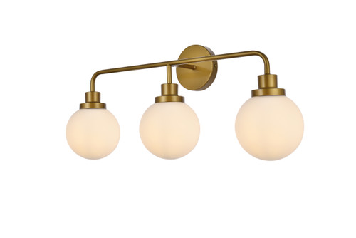 Living Disrict LD7034W28BR Hanson 3 lights bath sconce in brass with frosted shade