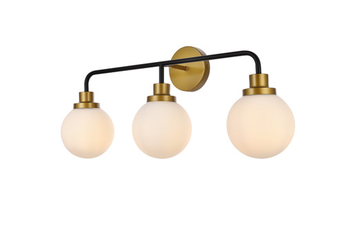 Living Disrict LD7034W28BRB Hanson 3 lights bath sconce in black with brass with frosted shade