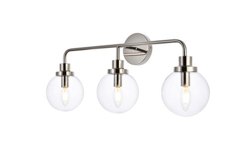 Living Disrict LD7035W28PN Hanson 3 lights bath sconce in polish nickel with clear shade