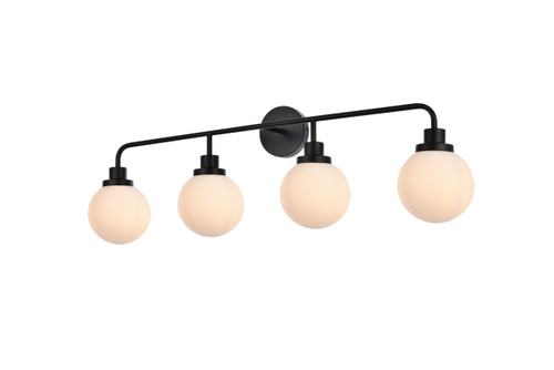 Living Disrict LD7036W38BK Hanson 4 lights bath sconce in black with frosted shade