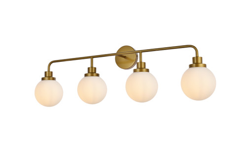 Living Disrict LD7036W38BR Hanson 4 lights bath sconce in brass with frosted shade