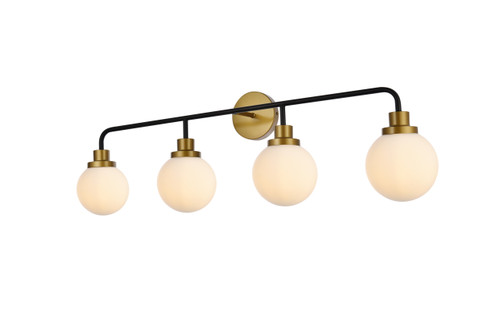 Living Disrict LD7036W38BRB Hanson 4 lights bath sconce in black with brass with frosted shade
