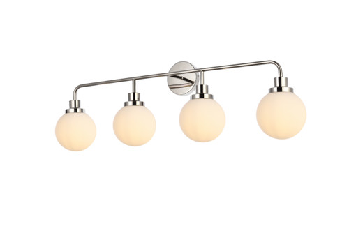 Living Disrict LD7036W38PN Hanson 4 lights bath sconce in polish nickel with frosted shade