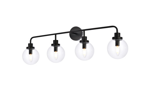 Living Disrict LD7037W38BK Hanson 4 lights bath sconce in black with clear shade