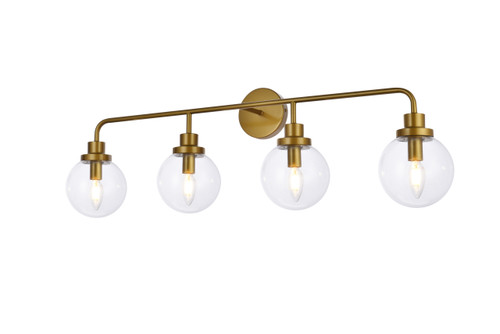 Living Disrict LD7037W38BR Hanson 4 lights bath sconce in brass with clear shade